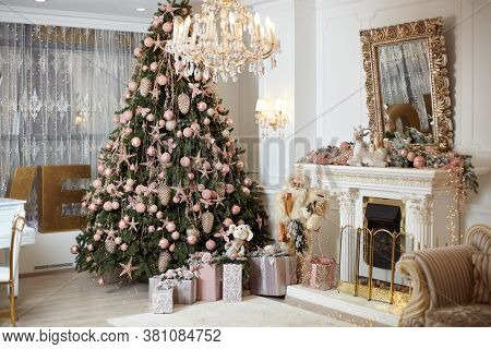 Christmas Tree Standing Living Room Interior Near Fireplace Gift Box Lie On Carpet Near Evergreen Fi