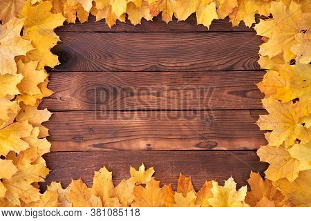 Autumn Leaves Square Frame On Wooden Background Top View Fall Border Yellow And Orange Leaves Vintag