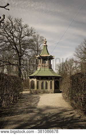 Drottningholm, Sweden - April 21 2019: The View Of The Aviary And Bowers, The Chinese Pavilion At Th