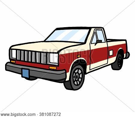 Vector Image Of A Classic Pickup Truck In Red White.