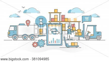 Inventory Management Work With Logistics In Goods Warehouse Outline Concept. Distribution Chain Orga