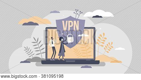 Vpn Virtual Private Network Information Secured In Cloud Tiny Person Concept. Confidentiality System