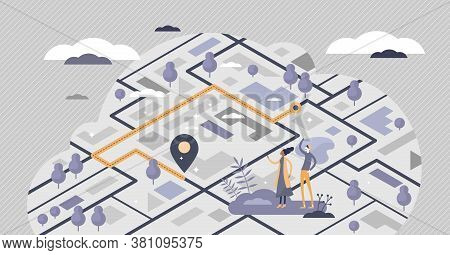 Tracking Gps Location In Map With Navigation Position Tiny Persons Concept. Pointer Ir Destination P