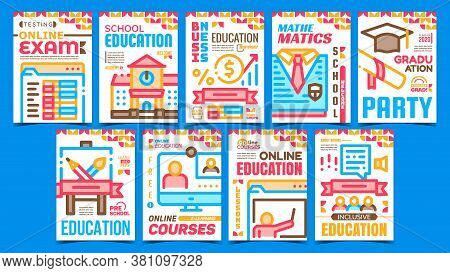 Academy Education Advertising Posters Set Vector. School And University Building, Online Courses And