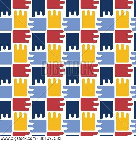 Abstract Figures, Puzzles. Uneven Edge, Cells, Weave . Bright Color. Suitable For Fabric