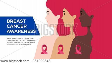 Breast Cancer Awareness Month Usa Banner. Women Of Different Nationalities Standing Together To Figh