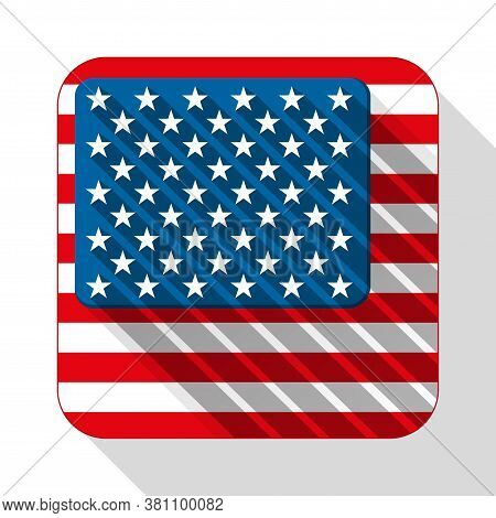 Flat Icon Usa Flag. Square Shapes And Flat Style. Vector Illustration Isolated On White Background.