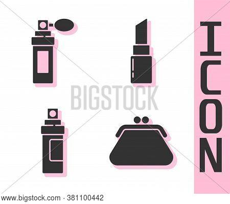 Set Clutch Bag, Perfume, Perfume And Lipstick Icon. Vector