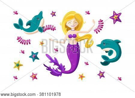 Set With Fairy Mermaid, Cute Little Dolphins And Colorful Starfish. Dancing Happy Mermaid With Wavin