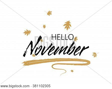 Hello November Autumn Seasonal Calligraphic Banner Vector Design With Falling Dry Leaves. Greeting C