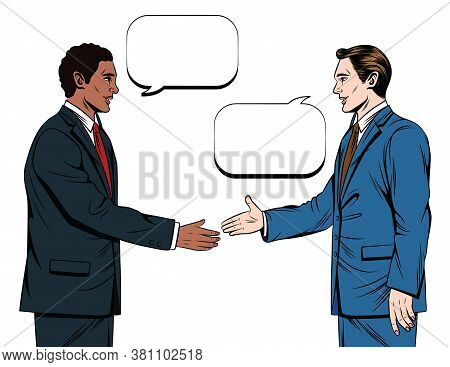 Vector Color Illustration Of Comic Style. Two Men In Suits Are Shaking Hands  Isolated On White Back
