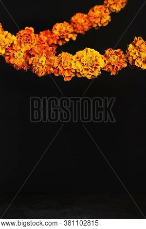 Dia De Los Muertos Day, Day Of The Dead Or Halloween Background, Copy Space. Marigold Flowers Garlan