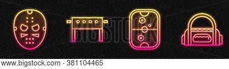 Set Line Air Hockey Table, Hockey Mask, Hockey Table And Sport Bag. Glowing Neon Icon. Vector