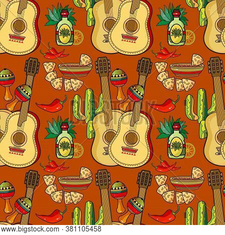 Mexican Holiday Seamless Pattern. Traditional Mexican Symbols And Items. Vector.