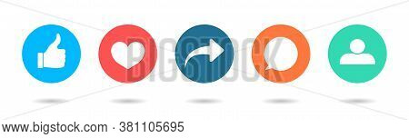 Icon Of Like, Share, Friend, Comment, Follow And Repost. Social Post Button With Thumb, Dislike, Hea