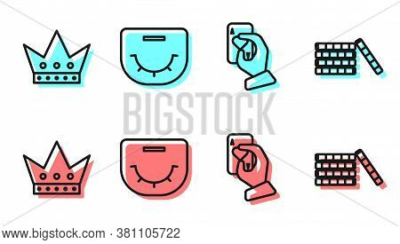 Set Line Hand Holding Playing Cards, King Playing Card, Poker Table And Casino Chips Icon. Vector