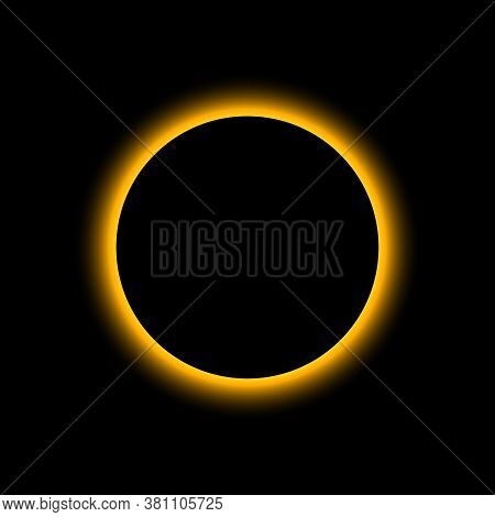 Eclipse Solar. Total Sun Eclipse. Moon Planet Background. Light On Horizon Of Earth. Concept Of Astr