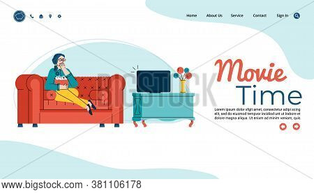 Movie Time Website Template With Woman Watching Favorite Movie Or Show At Home, Sitting On Sofa Behi