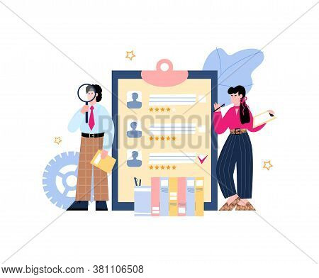 Recruiting And Hiring Banner With Characters Of Recruiters Or Hr Managers Standing Near List Of Cand