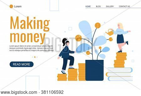 Successful And Well-being Business Women Or Top Managers Grows A Tree With Gold Coins. The Concept O