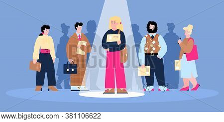 Employee Hiring Banner With Cartoon Characters Of Standing In Line Job Candidates, Flat Vector Illus