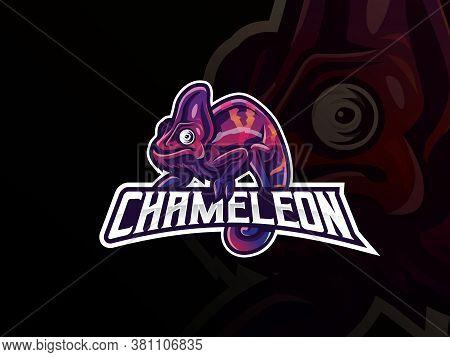 Chameleon Mascot Sport Logo Design. Exotic Chameleon Animal Mascot Vector Illustration Logo. Wild Ch