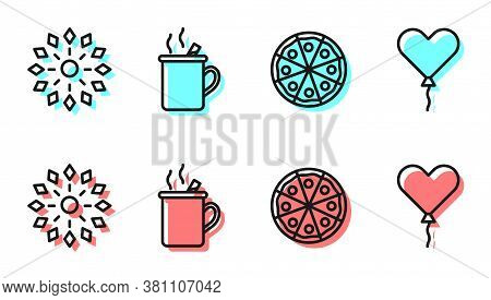 Set Line Pizza, Firework, Mulled Wine And Balloon In Form Of Heart Icon. Vector