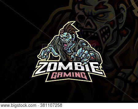 Zombie Sport Logo Design. Undead Mascot Vector Illustration Logo. Monster Zombie Mascot Design, Embl