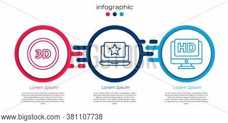 Set Line 3d Word, Laptop With Star And Monitor With Hd Video. Business Infographic Template. Vector