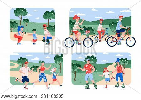 Family Sport Topic Set Representing People Spending Time In Nature In Different Sport Activity, Flat
