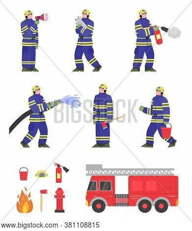 Firefighter Team And Equipment Set - Cartoon Fireman In Uniform Extinguishing Fire And Firetruck Wit