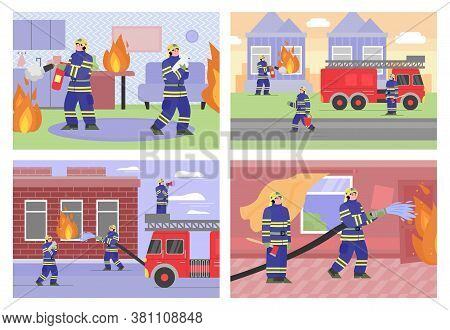 A Set Of Posters And Banners With A Fire Brigade That Extinguishes A Burning House Or Apartment. Fir