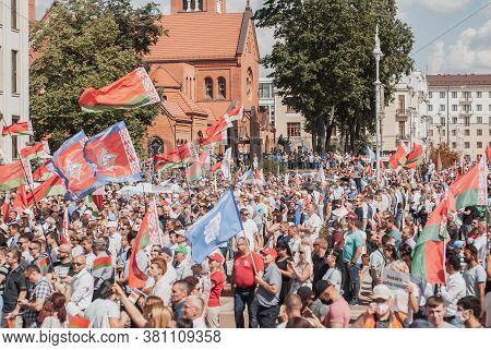 Minsk, Belarus, August 16, 2020 Rally In Support Of Belarusian President Alexander Lukashenko, A Cro