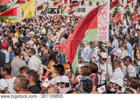 Minsk, Belarus, August 16, 2020 Rally In Support Of Belarusian President Alexander Lukashenko, The B