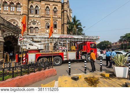 Mumbai, India - November 22, 2019: Fire Brigade Truck Skylift In Mumbai, Maharashtra, India.
