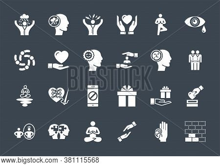 Conscious Living And Friends Relations Glyph Related Icons Set. Isolated On Black Background. Simple