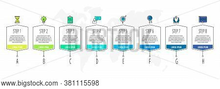 Vector Infographics With 8 Steps, Labels. Line Template. Used For Diagram, Business, Web, Banner, Wo