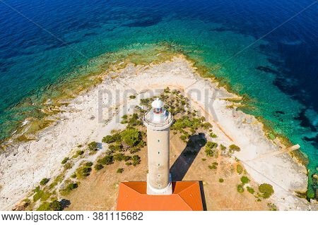 Amazing Croatia, Spectacular Seascape, Aerial View Of Lighthouse Tower Of Veli Rat On The Island Of