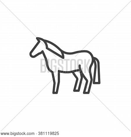 Horse Animal Line Icon. Linear Style Sign For Mobile Concept And Web Design. Equine Horse Outline Ve