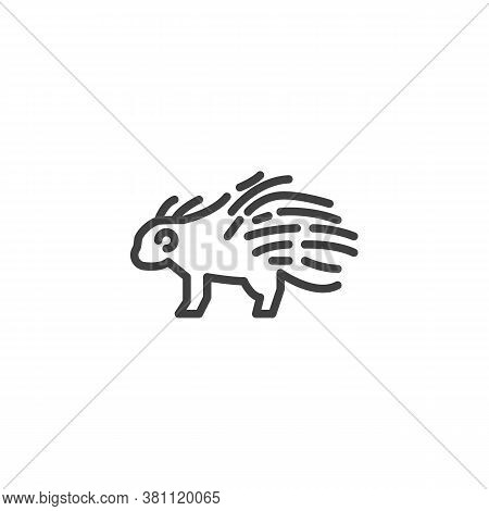 Porcupine, Animal Line Icon. Linear Style Sign For Mobile Concept And Web Design. Porcupine, Side Vi