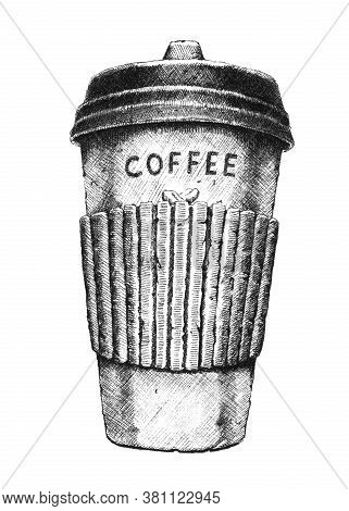 Hand-drawn Black And White Illustration Of Takeaway Coffee. Jpeg Only.