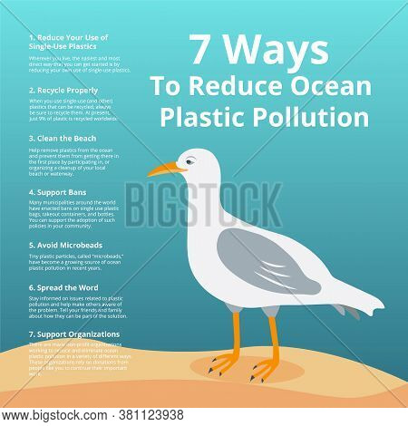 7 Ways To Reduce Ocean Plastic Pollution - Ecology Poster With White Seagull