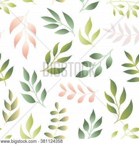 Floral Seamless Pattern With Fern, Different Leaves, Green Color Branches On White Background. Green