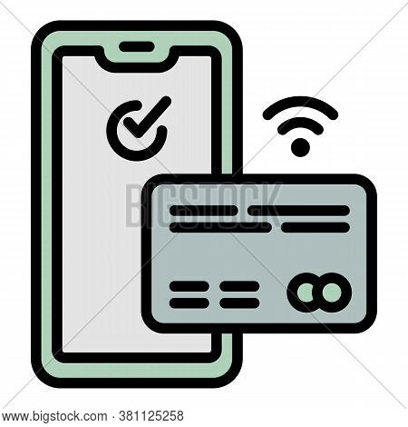 Credit Card Nfc Smartphone Icon. Outline Credit Card Nfc Smartphone Vector Icon For Web Design Isola