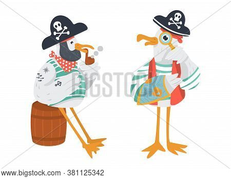 Vector Old Pirates In Cocked Hats. Seagull With Neckerchief Smokes Pipe Sitting In The Wooden Cask.
