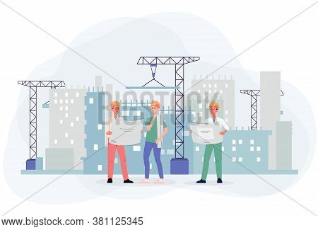 Civil Engineer Or Construction Architect Characters Flat Vector Illustration.