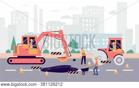 Cartoon People Fixing Hole On Highway - Industrial City Roadwork Banner