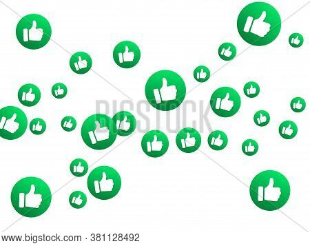 Thumbs Up Green Isolated Vector Like Social Media Signs. Recommendation Icons, Good Choice Labels. V