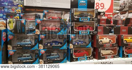 Russia, St. Petersburg, 12,12,2018 Children's Toys Car Models In The Supermarket