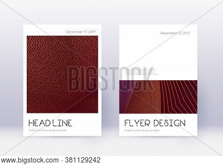 Minimal Cover Design Template Set. Orange Abstract Lines On Wine Red Background. Divine Cover Design